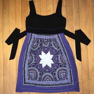 En Focus Black and Purple Pattern Dress